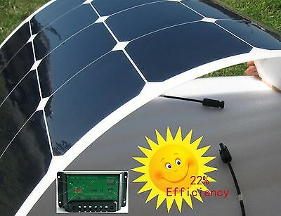 120W Semi Flexible Solar Panel Kit 10A Charge Controller 2m Cable camper caravan