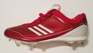 d7ef3b71fc5ff3 Adidas adizero Diamond King Low Baseball Cleats Shoes Red White Mens ...