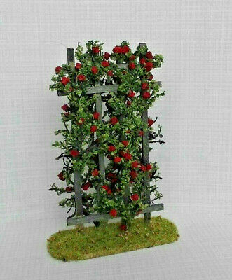 Fairy Garden Handcrafted Rose Trellis Red 1:12 scale Dollhouse Miniature