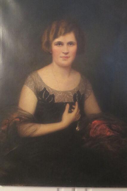 Vintage LARGE Art DECO Oil Portrait Woman Pearl Necklace by Carl KAHLER 1920s