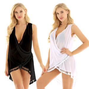 WomenSleeveless-Tassel-Bathing-Suit-Bikini-Swimwear-Chiffon-Cover-Up-Beach-Dress
