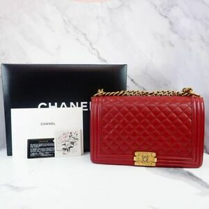 CHANEL  LARGE CALFSKIN LE BOY GHW RED