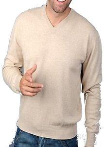 Homme Beige Pullover V Col 100 Cachemire Balldiri XL qtYTCA
