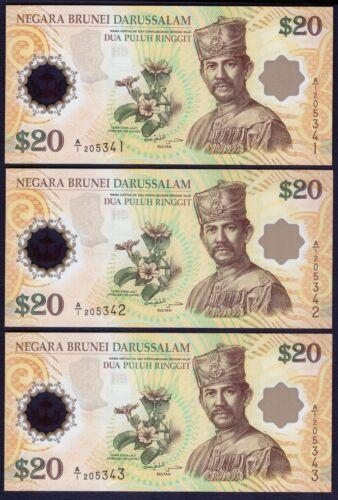 3 x in Cont Orde P 34 20 Ringgit 2007 UNC Brunei Commemorative Polymer