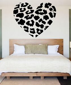 bedroom wall sticker leopard print love heart wall art vinyl