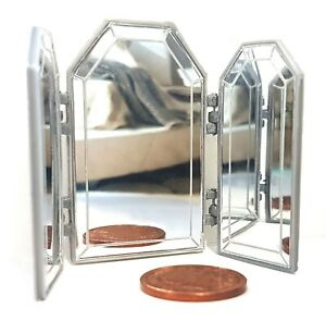 Dolls-House-1-12-scale-Silver-Effect-3-Way-Mirror-Lovingly-Made-by-BUSHBABY