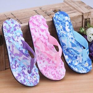 85c688fa4b6d UK Summer Women Ladies Beach Flip Flops Flat Slippers Massage ...