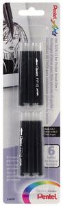 Pentel-Arts-Pocket-Brush-Pen-FP10-Refills-Permanent-Black-Pigment-Ink-6-Pack