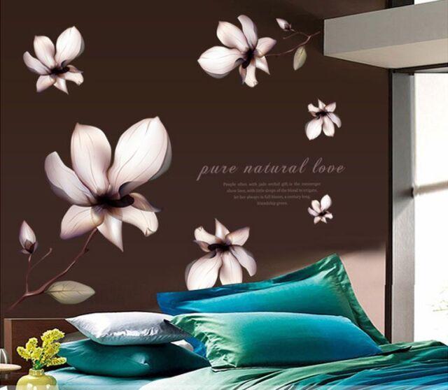 Wandtattoo Wandsticker Wandaufkleber Blumen Wohnzimmer Magnolie Schlafzimmer