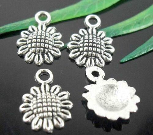 Wholesale 100//240Pcs Tibetan Silver  Sunflower  Charms   12.5x9mm Lead-free
