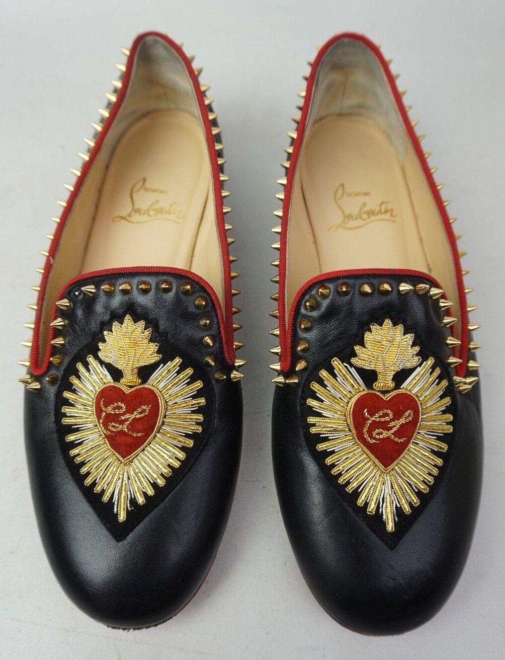 Christian Louboutin Mi Corazon Spiked Flat Flat Flat Black Leather Loafers Women's Size 35 c1569d