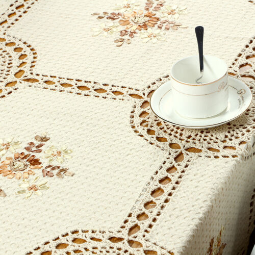 Vintage Hand Crochet Embroidered Lace Tablecloth Rectangle Table Cloth 66x94inch
