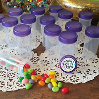 Usa 12 Plastic Tube Jar Rx Container Purple Cap Pill Candy Bottle 3814 Decojars