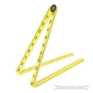 1m Yard Stick Folding Ruler Plastic Rule Mesaure Metre 3ft Yellow 1000mm