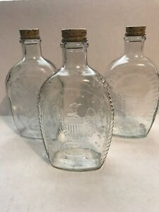 Log Cabin Syrup Lot of 3 Clear Bottles Eagle, Cornucopia, Log Cabin