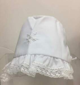 Will-039-beth-NWT-Newborn-Infant-Girl-White-Baby-Bonnet-Lace-Pearls-0-6m-Christening