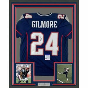 FRAMED-Autographed-Signed-STEPHON-GILMORE-33x42-New-England-Blue-Jersey-PSA-COA