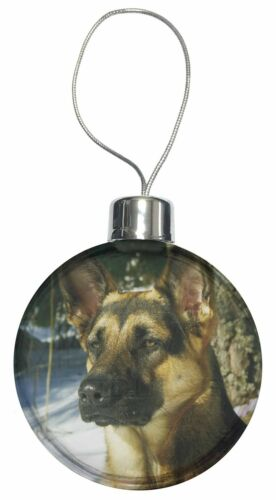 AD-G41CB German Shepherd Dog in Snow Christmas Tree Bauble Decoration Gift