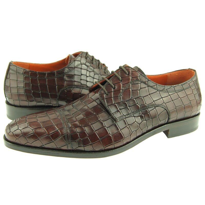 Lorens  Fabio   Gorra Punta Derby,Estampado de Cocodrilo Hombre Zapatos Vestido,