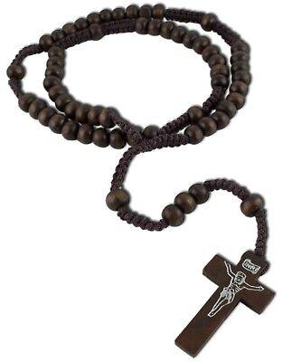Dunkelbraun Rosenkranz Halskette Kreuz Anhänger Jesus Gebetskette Inri (tg00478)