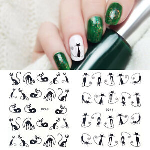 2-Sheets-Nail-Art-Water-Decals-Transfer-Stickers-Black-Cat-Geometry-Flower-Tips