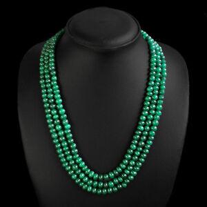 Verdaderamente-impresionante-Raro-433-00-CTS-natural-3-Strand-Verde-Esmeralda-granos-collar