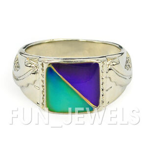 New-Signet-Double-Mood-Ring-Multi-Colored-Change-Free-Color-Chart-Unisex