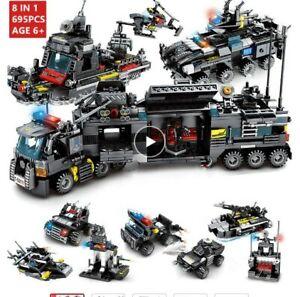 M-IDEA-REGALO-8-IN-1-COSTRUZIONI-POLIZIA-SWAT-CAMION-TIPO-LEGO-695-PZ-TIPO-LEGO