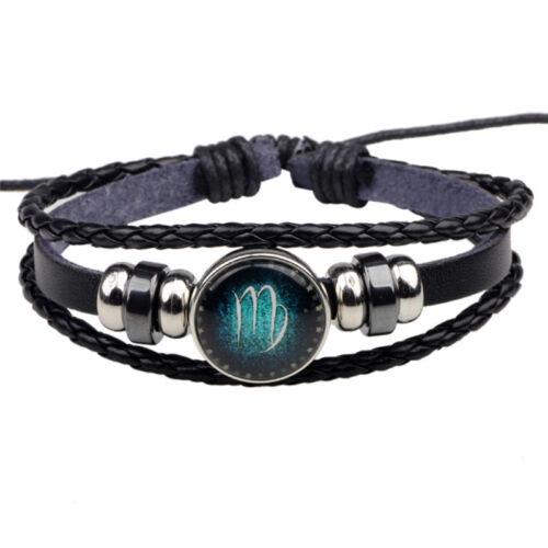 Unisex 12 Constellation Zodiac Round Pendant PU Leather Bangle Bracelet D/_X