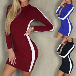 Women-Lady-Long-Sleeve-Bandage-Bodycon-Evening-Party-Stripe-Short-Mini-Dress-CA