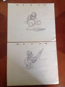 Details about 2 Donald Duck 1940's Walt Disney animation Production Rough  Drawing- Lot #2
