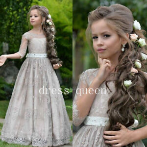 grey lace aline flower girl dresses 3/4 sleeves long