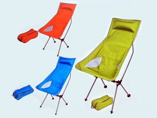 COMPACT TOTE FOLDING PORTABLE foldable CAMPING CHAIR seat in a bag in blueE