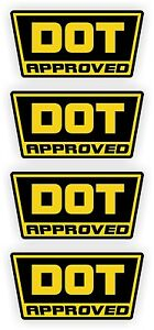DOT Approved Motorcycle Helmet Stickers | Decals | D.O.T. Black & Ylw (4-pack)