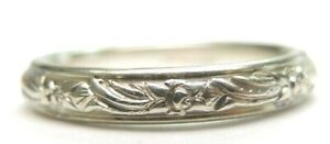 Antique-Vintage-Art-Deco-JR-Wood-amp-Sons-Wedding-Band-14K-White-Gold-Ring-Sz-5-5