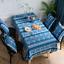 140-240cm Vintage Blau Leinen Spitze Tischdecke Deckchen Mitteldecke Boho Deko