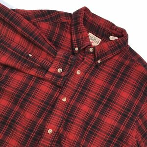 RED-HEAD-MENS-LONG-SLEEVE-PLAID-FLANNEL-HEAVY-COTTON-BUTTON-DOWN-SHIRT-SIZE-XL