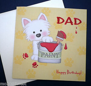Image Is Loading DAD Happy Birthday CARD Decorating Painting With Cute