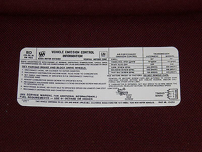 73 BUICK 455-4V STAGE 1 MANUAL & AUTOMATIC TRANSMISSION EMISSION DECAL NEW 1973