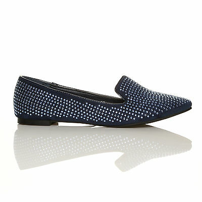 Nuevo para mujer Plana mocasín Gem Zapatos Damas señalado Plana Ballerina