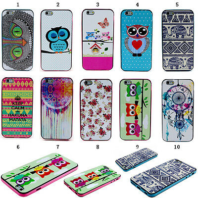 Stylish Paint Rubber TPU + PC Hybrid Case Cover For Samsung Galaxy Apple iPhone