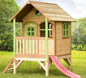 40a11a8de3 Caricamento dell'immagine in corso Casetta-gioco-con-scivolo-in-legno-per -bambini-