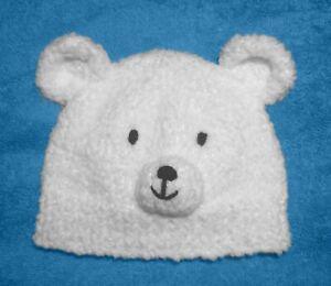 Knitting Pattern Teddy Polar Bear Baby Hat Newborn To 6 Months