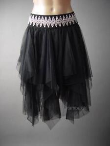 e2ca8066a Image is loading Women-Black-Tulle-Dark-Fairy-Goth-Handkerchief-Tutu-