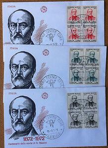 FDC-Filagrano-Italia-Repubblica-1972-Giuseppe-Mazzini-3-NVG-quartine