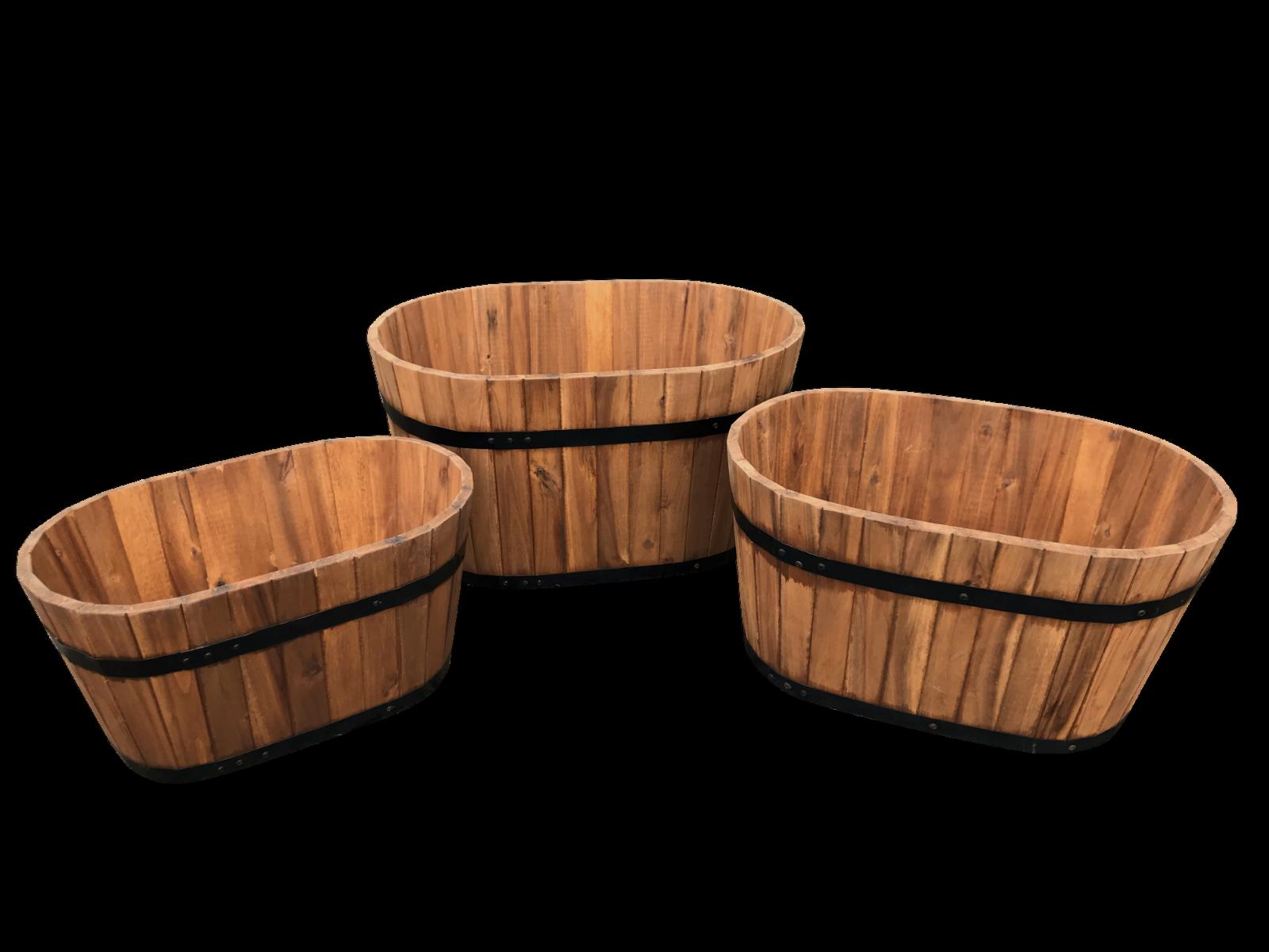 CLICK-DECK Wooden Hardwood Oval Garden Planters - Set of 3 Oval Flower Tub Pot