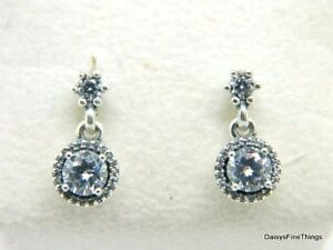 196b31952 Image is loading AUTHENTIC-PANDORA-SILVER-EARRINGS-CLASSIC-ELEGANCE -290594CZ-HINGED-