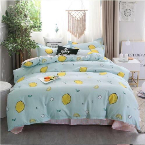 Lemon Green Comfort Bedding Set Duvet Quilt Cover+Sheet+Pillow Case Four-Piece