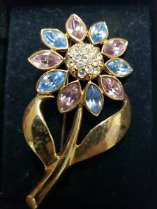 Vintage Flower Brooch Pin Purple Pink Blue Rhinestone Gold Pearl Coro Each