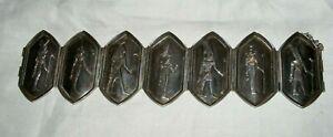 ANTIQUE-ART-DECO-EGYPTIAN-REVIVAL-SILVER-PHARAOH-BRACELET-BANGLE-ORIGINAL-BOX